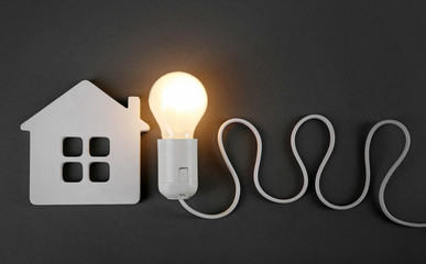 Electric bulb and house on grey background