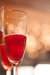 Red champagne bokeh background