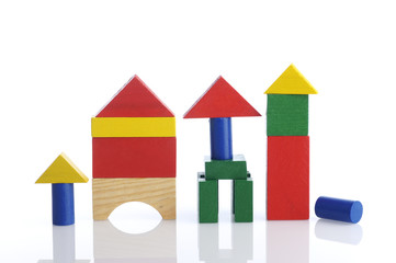 Colorful Building Wooden Block on White Background