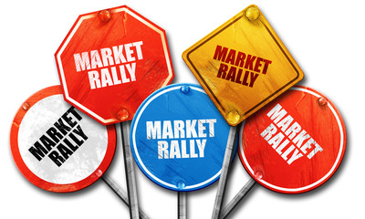 market rally, 3D rendering, rough street sign collection