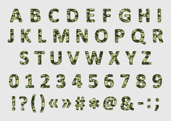 Military camouflage font, vector