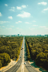 Aerial view of Berlin skyline panorama on a sunny day with blue sky and clouds in summer seen from...