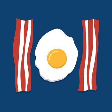 eggs and bacon on blue background