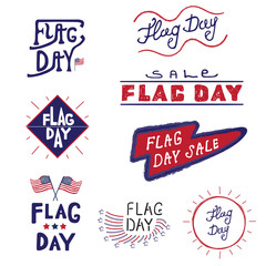 Vector logos and labels Flag day