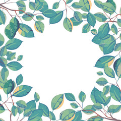 Vector frame of leaves. Natural background
