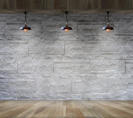 interior granite stone decorative brick wall with lamp interior