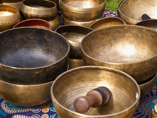 Tibetan singing bowls with batons