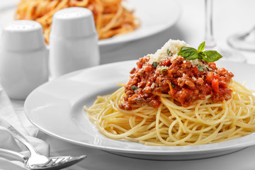 italian spaghetti bolognese topped with cheese and basil Wall mural