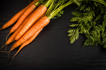 fresh carrot on black background