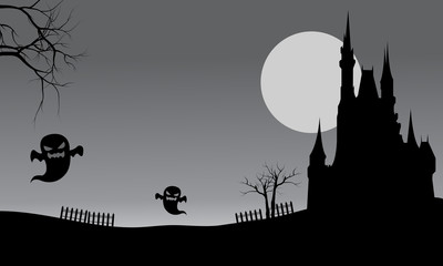 Halloween castle and ghost scary
