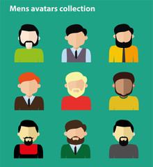 Flat mens avatar collection, set of people icons flat style