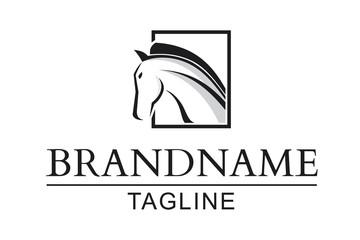 simple, elegant and multiused logo horse
