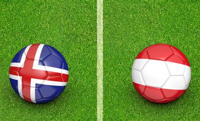 Team balls for Iceland vs Austria football tournament match, 3D rendering