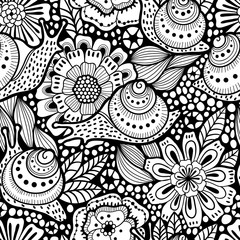 Abstract seamless floral pattern with snails