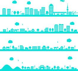 都市や街のシルエットイラストのセット