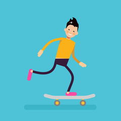 Vector male character in flat style - boy riding skateboard