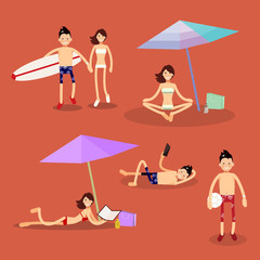 set of vector characters on the beach