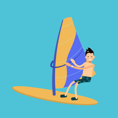 vector male character in flat style - boy windsurf