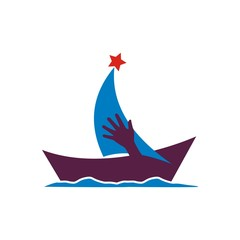 Sailing Boat vector icon symbol yacht