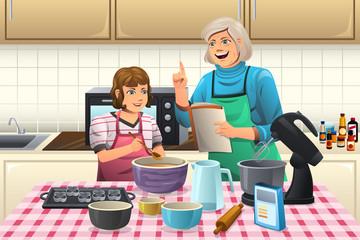Grandma Preparing Cookies
