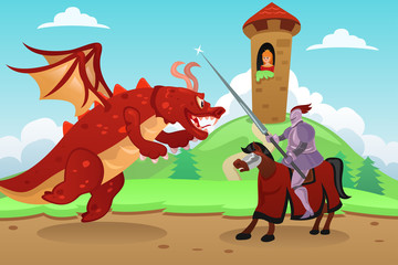 Knight Fighting a Dragon