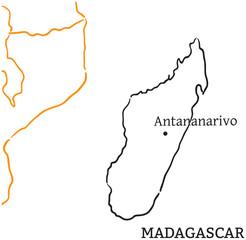 Madagascar hand-drawn sketch map