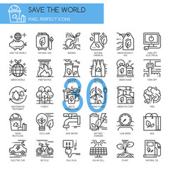 Save the world , thin line icons set , Pixel Perfect Icons