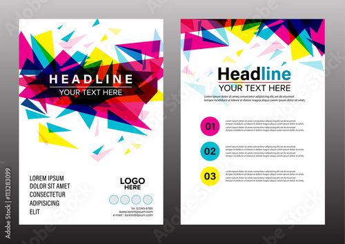 Colorful Geometric Annual Report Brochure Flyer Design Template Vector Leaflet Cover Presentation Abstract Flat Background