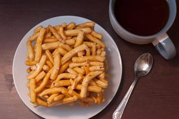 Tatar and Bashkir dish - chack-chack. Sweet dessrt, top view.