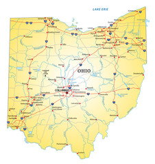road map of the US state ohio