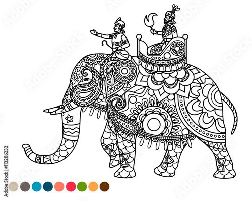 antistress coloring page indian maharaja sitting on elephant