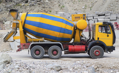Concrete mixer truck on construction site