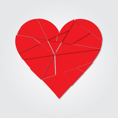 Red heart. Broken heart. Shards of the heart. Icon broken heart. Vector illustration. Heart isolated.