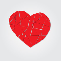 Red heart. Broken heart. Shards of the heart. Icon broken heart. Vector illustration