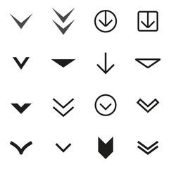 Vector black Arrow buttons down icon set