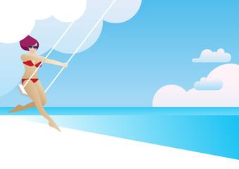 summer beach cloud woman bikini swing