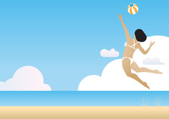 summer beach volleyball woman