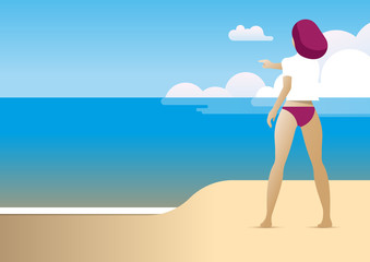 summer beach woman back direction