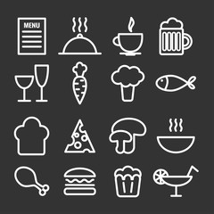 Collection of linear food icons. Thin restaurant icons for  print, web, mobile apps design