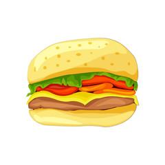 Sandwich with bread, meatballs, tomato, cheese, salad.