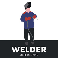 Logo vector welding. A welder in coveralls holding electrode