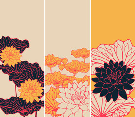 a set of Asian style floral bookmarks with lotus flowers and leaves in orange, red, ivory and black shades