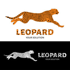 Vector logo leopard. Brand's logo in the form of a leopard jump