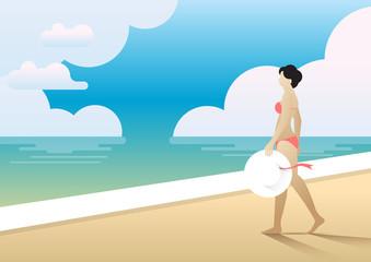summer beach woman walk