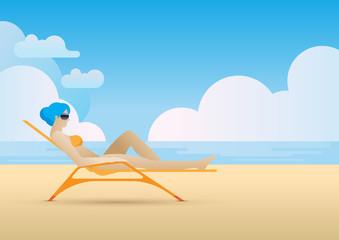 summer bikini sunbed beach tanning