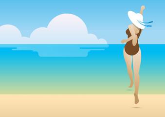 summer bikini woman beach jump back