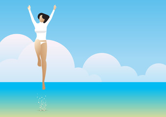 summer sea rash guard woman jump joy