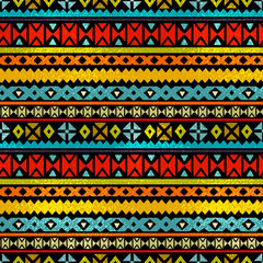 Tribal art  boho ethnic colorful seamless pattern