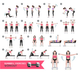 Woman dumbbell workout fitness and exercises. Vector Illustratio