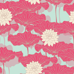 an asian style lotus pond seamless pattern in blue, pink and ivory